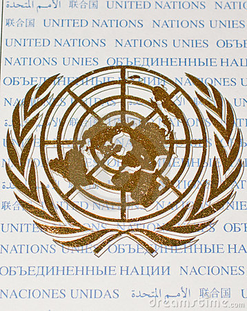 Golden color logo of United Nations Organization Editorial Photography