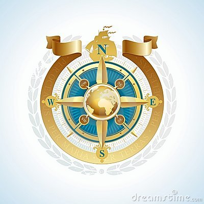 Golden compass rose with globe & ribbon