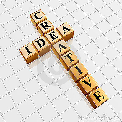 Golden creative idea like crossword