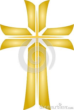 Golden Cross_Christian Religious Symbol_Vector
