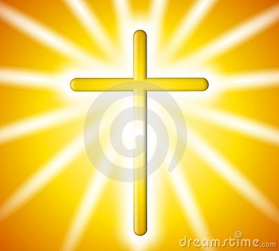 Golden Cross Light Rays Background
