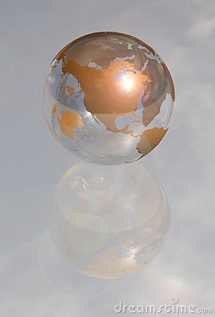 Golden crystal globe north america 3d