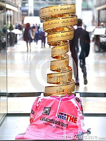 Golden cup of Giro d Italia Editorial Photo