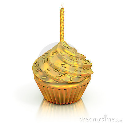 Golden cupcake 3d rendering