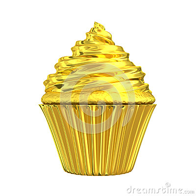 Glossy golden cupcake fairy cake patty cake or cup cake with gold