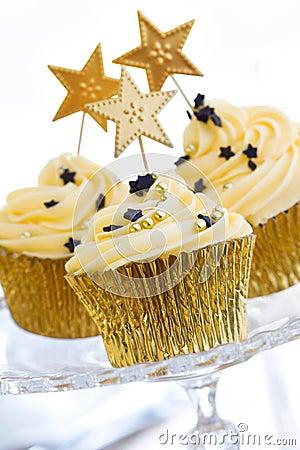 Free Golden Cupcakes Stock Photo - 11363770