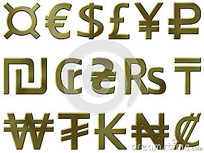 Golden currency symbols 1