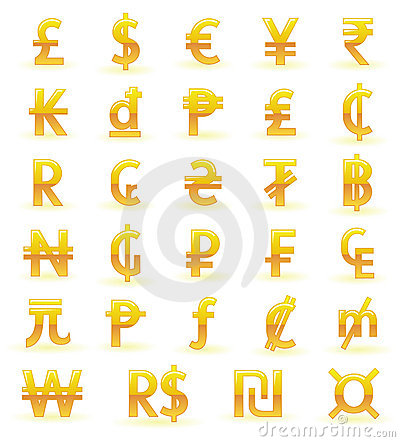 Free Golden Currency Symbols Stock Photos - 23184513