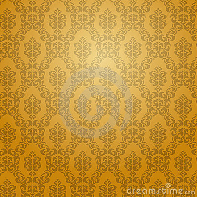 Golden damask wallpaper.