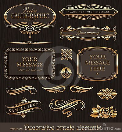 Golden decorative design elements