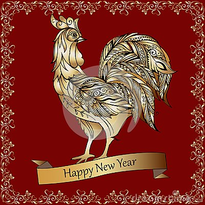 Golden decorative rooster on a red background. Happy New Year. Vector Illustration