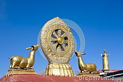 Golden Deer And Dharma Wheel in Tibet
