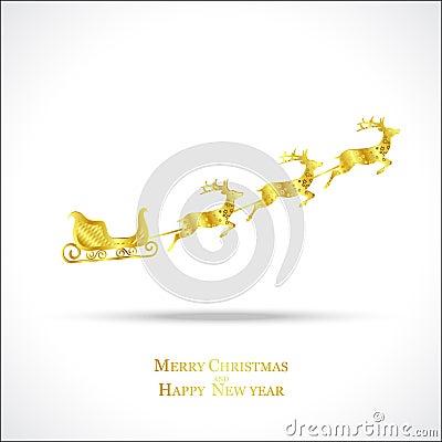 Golden deer with sleigh