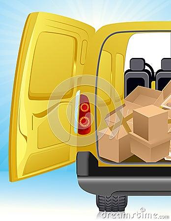 Golden delivery minibus