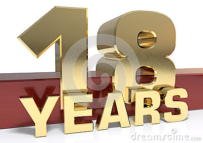 Golden digit eighteen and the word of the year. 3D illustration Cartoon Illustration