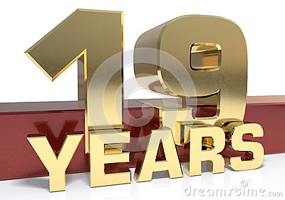 Golden digit nineteen and the word of the year. 3D illustration Cartoon Illustration