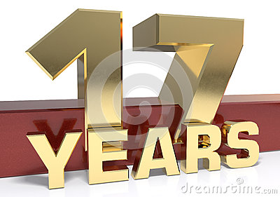 Golden digit seventeen and the word of the year. 3D illustration Cartoon Illustration