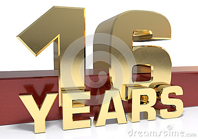 Golden digit sixteen and the word of the year. 3D illustration Cartoon Illustration