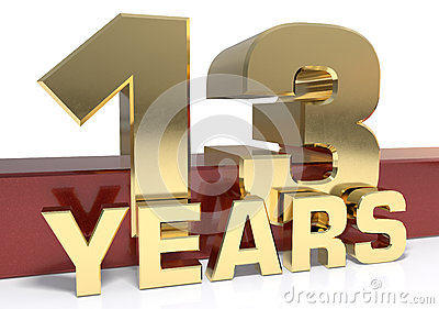 Golden digit thirteen and the word of the year. 3D illustration Cartoon Illustration