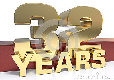 Golden digit thirty two and the word of the year. 3D Cartoon Illustration
