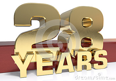 Golden digit twenty eight and the word of the year. 3D Cartoon Illustration