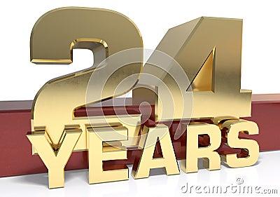 Golden digit twenty four and the word of the year. 3D illustrati Cartoon Illustration