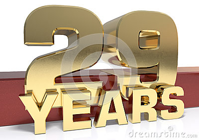 Golden digit twenty nine and the word of the year. 3D Cartoon Illustration