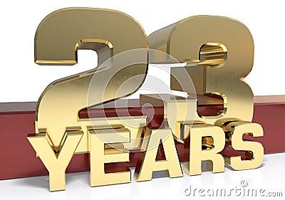 Golden digit twenty three and the word of the year. 3D Cartoon Illustration
