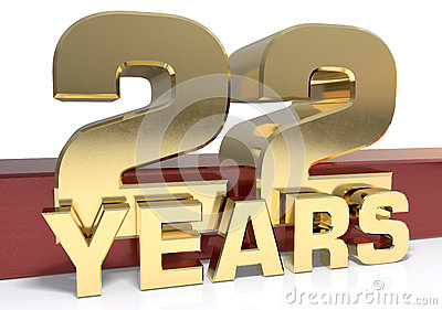 Golden digit twenty two and the word of the year. 3D Cartoon Illustration