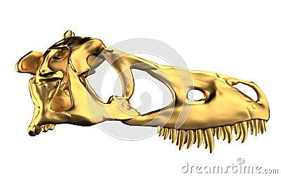 Golden Dino Skull