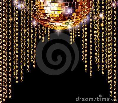 Golden disco ball and glitter curtains