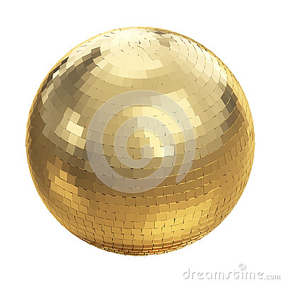 Golden disco ball on white
