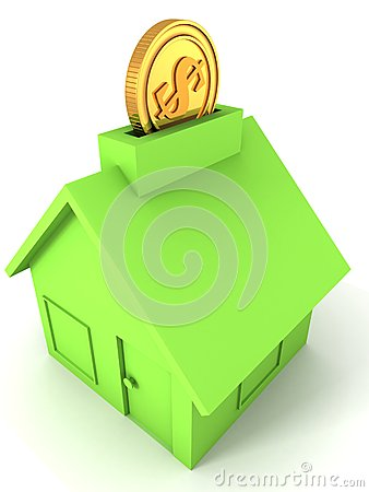 Golden dollar coin into green moneybox house