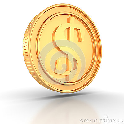 Golden dollar coin on white background