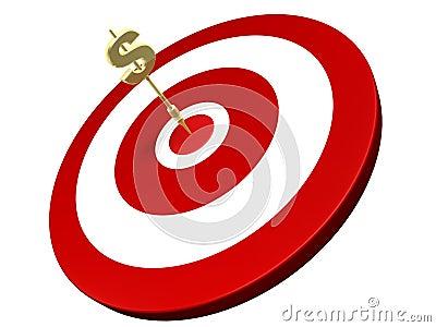 Golden dollar dart hit on target