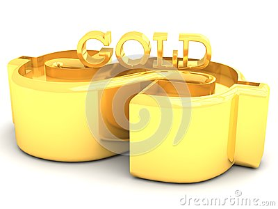 Golden Dollar and Gold word lettering