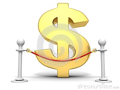 Golden dollar sign behind of red rope barrier
