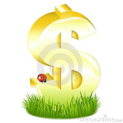 Golden Dollar Sign In Grass. Vector