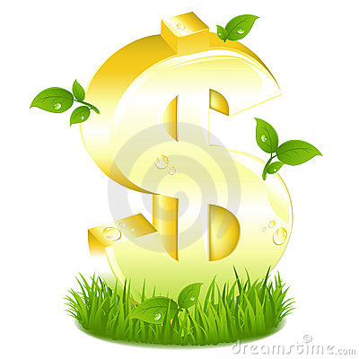 Golden Dollar Sign With Green. Vector