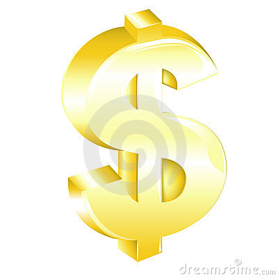 Golden Dollar Sign. Vector