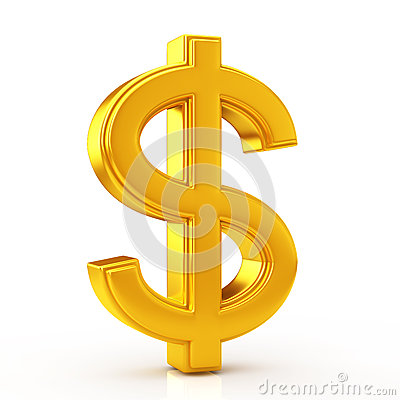 Golden dollar symbol