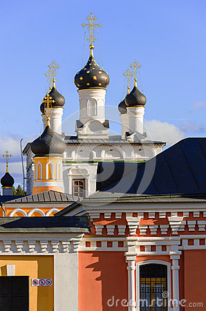 Golden domes of Russia. Dome Ascension of David desert - a functioning monastery in Moscow region.