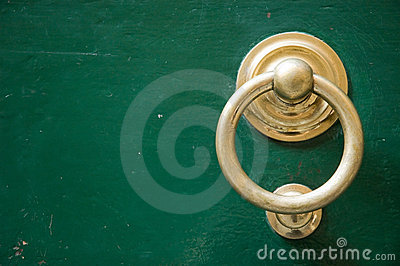 Golden door knocker copy space