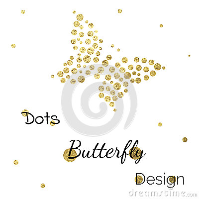 Free Golden Dots Butterfly Design Template Royalty Free Stock Images - 59054289