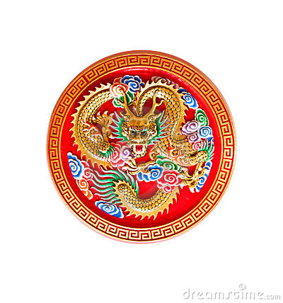 Free Golden Dragon Decorated On Red Wood,chinese Style Royalty Free Stock Images - 19833199