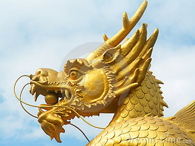 Golden dragon head