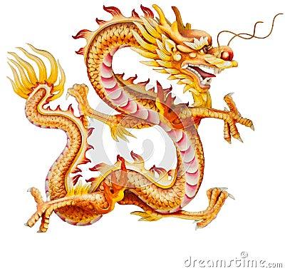 Free Golden Dragon Isolated On White Stock Photo - 21437710