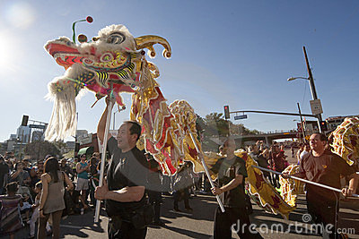 Golden Dragon Parade Dragon Dancers Editorial Stock Photo