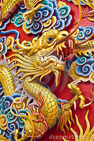 Golden dragon statue in chinese temple in Chonburi