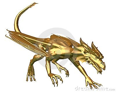 Golden Dragon Statue - prowling